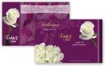 Undangan dengan motif mawar ungu, didesain dengan lipat 3, satu kecil.
